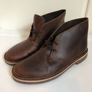 Clarks Brown Leather Chukka Dress Boot Shoes 10.5